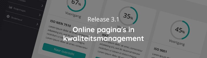 Release 3.1 - Online pagina's in kwaliteitsmanagementsysteem in Corpio